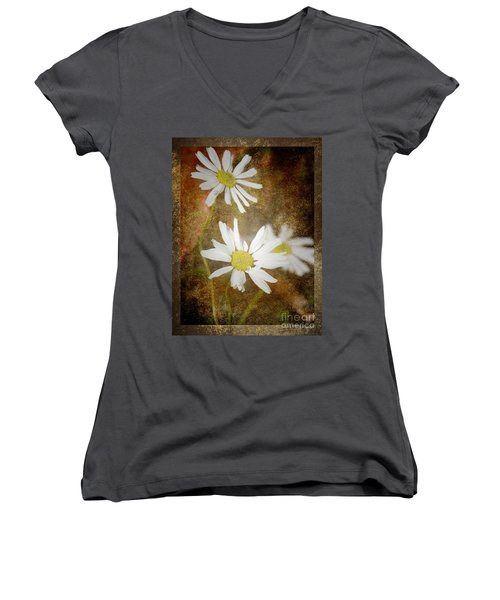 Ox Eye Dasies Women's V-Neck T-Shirt (Junior Cut) by Lynn Bolt