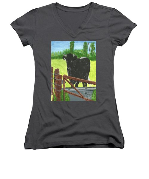 Women's V-Neck T-Shirt (Junior Cut) featuring the painting Oxleaze Bull by John Williams
