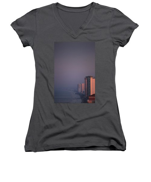 Panama City Beach In The Morning Mist Women's V-Neck (Athletic Fit)