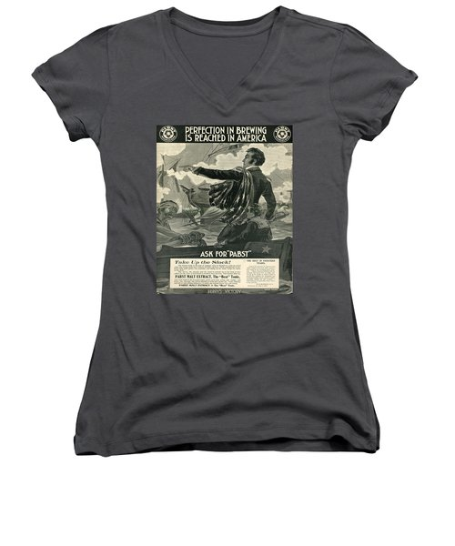 Women's V-Neck T-Shirt (Junior Cut) featuring the digital art Pabst by Cathy Anderson