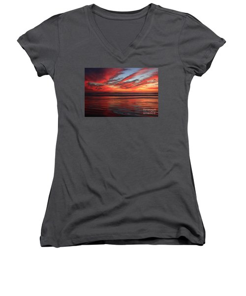 Women's V-Neck T-Shirt (Junior Cut) featuring the photograph Oceanside Reflections by John F Tsumas