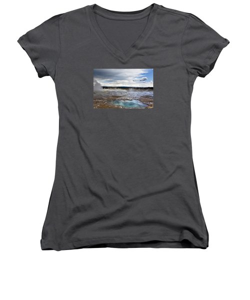 Women's V-Neck T-Shirt (Junior Cut) featuring the photograph Paint Pots by Belinda Greb