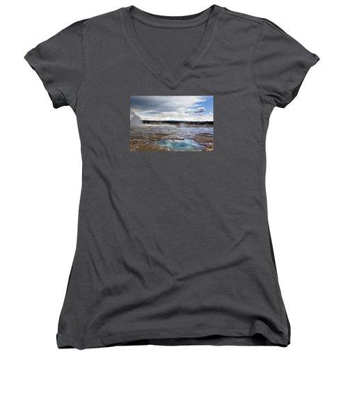 Paint Pots Women's V-Neck T-Shirt (Junior Cut) by Belinda Greb