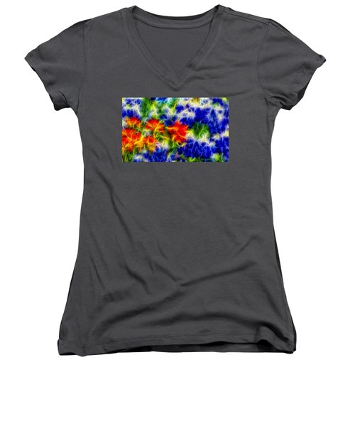 Painted Wildflowers Women's V-Neck