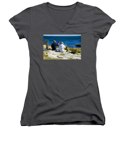 Painting The View Women's V-Neck T-Shirt