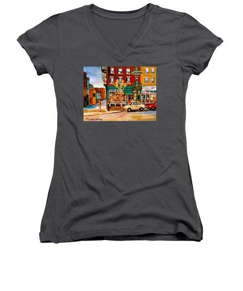 Paintings Of  Famous Montreal Places St. Viateur Bagel City Scene Women's V-Neck