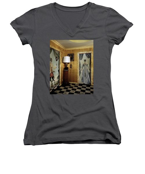 Paintings On The Walls Of Tony Duquette's House Women's V-Neck