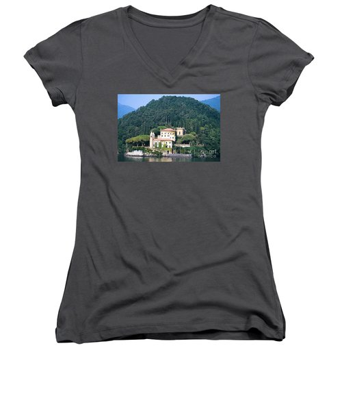 Women's V-Neck T-Shirt (Junior Cut) featuring the photograph Palace At Lake Como Italy by Greta Corens