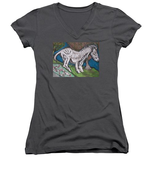 Women's V-Neck T-Shirt (Junior Cut) featuring the painting Out There Alone. by Jonathon Hansen