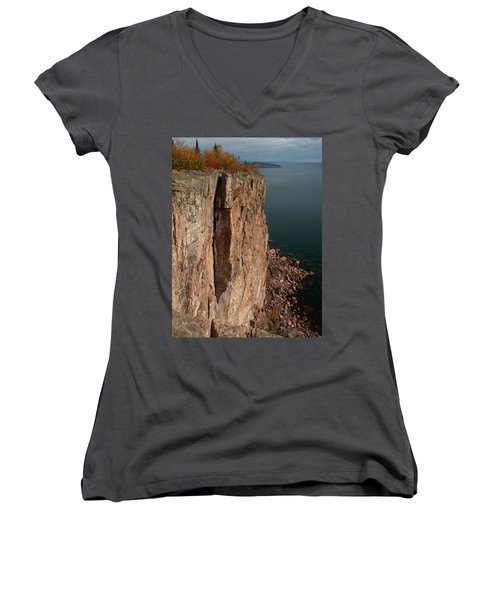 Women's V-Neck T-Shirt (Junior Cut) featuring the photograph Palisade Depths by James Peterson