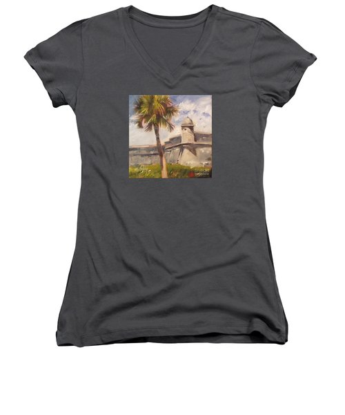 Palm At St. Augustine Castillo Fort Women's V-Neck T-Shirt (Junior Cut) by Mary Hubley