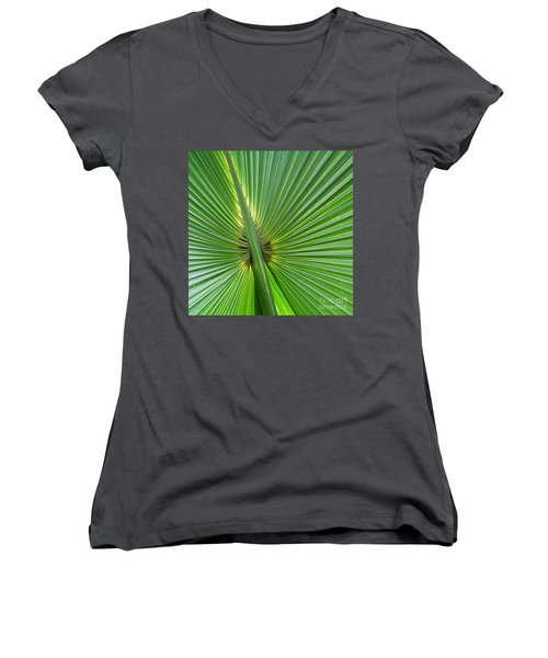 Women's V-Neck T-Shirt (Junior Cut) featuring the photograph Palm Love by Roselynne Broussard