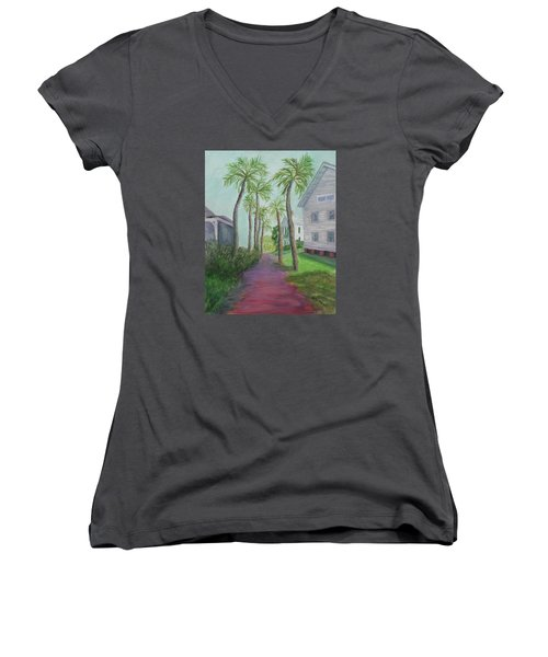 Palm Row In St. Augustine Florida Women's V-Neck (Athletic Fit)
