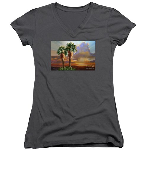 Women's V-Neck T-Shirt (Junior Cut) featuring the painting Palm Tree Cabo Sunset by Tim Gilliland