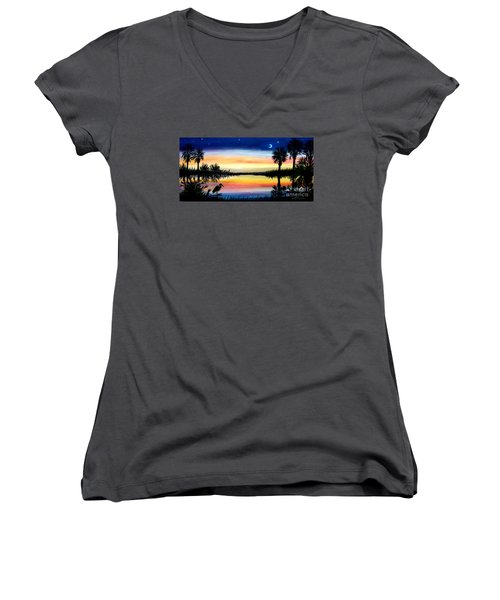 Palmetto Tree Moon And Stars Low Country Sunset IIi Women's V-Neck T-Shirt (Junior Cut) by Patricia L Davidson