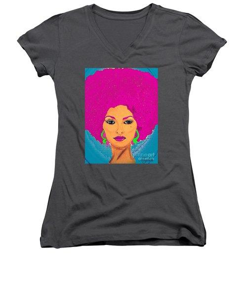 Pam Grier Bold Diva C1979 Pop Art Women's V-Neck T-Shirt (Junior Cut) by Saundra Myles