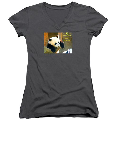 Panda Baby Bear Never Ever Ever Give Up Women's V-Neck (Athletic Fit)