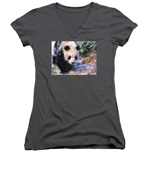 Panda Bear Walking In Forest Women's V-Neck T-Shirt (Junior Cut) by Lanjee Chee