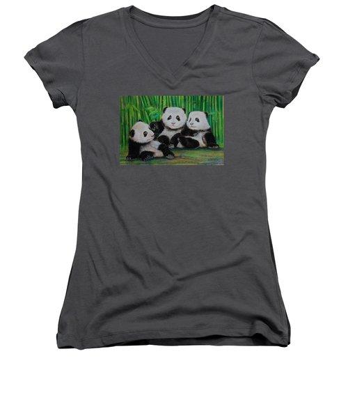 Panda Cubs Women's V-Neck T-Shirt (Junior Cut) by Jean Cormier