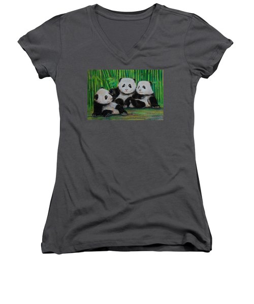 Panda Cubs Women's V-Neck (Athletic Fit)