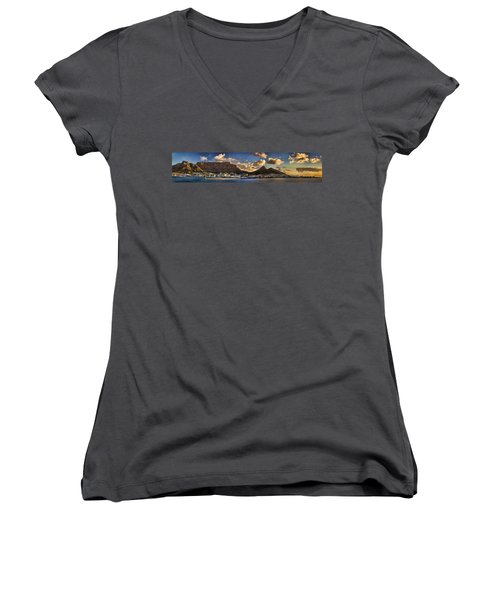 Panorama Cape Town Harbour At Sunset Women's V-Neck (Athletic Fit)