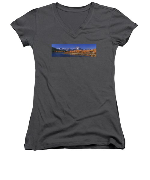 Women's V-Neck featuring the photograph Panorama Fall Morning Oxbow Bend Grand Tetons National Park Wyoming by Dave Welling