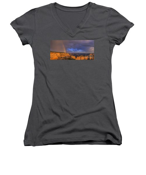 Women's V-Neck T-Shirt (Junior Cut) featuring the photograph Panorama Rainbow Over Cape Royal North Rim Grand Canyon National Park by Dave Welling