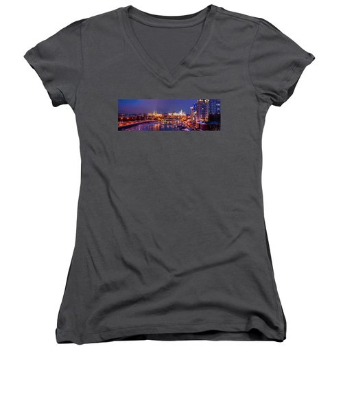 Panoramic View Of Moscow River And Moscow Kremlin  - Featured 3 Women's V-Neck T-Shirt (Junior Cut) by Alexander Senin