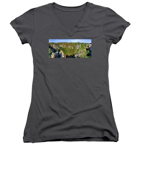 Panoramic View Of The Elbe Sandstone Mountains Women's V-Neck