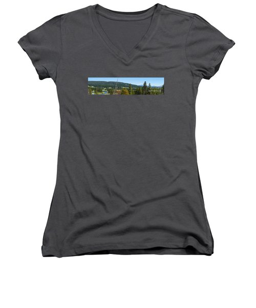 Panoramic Yellowstone Landscape Women's V-Neck (Athletic Fit)