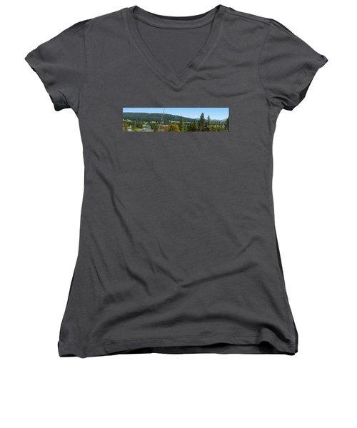 Panoramic Yellowstone Landscape Women's V-Neck T-Shirt (Junior Cut) by Jennifer White