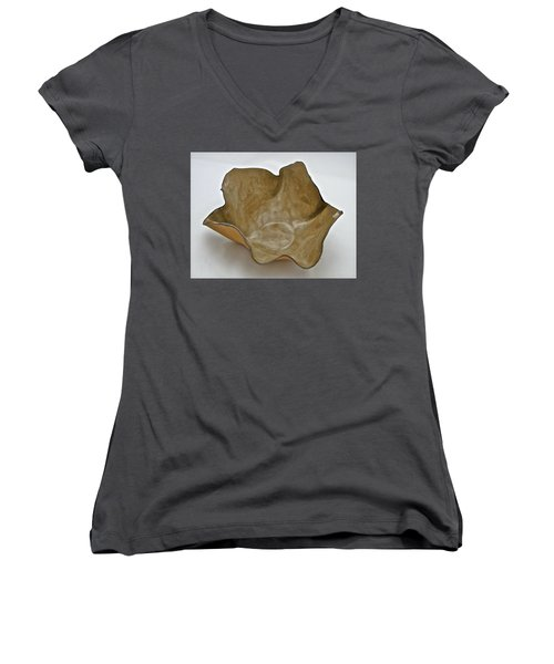 Women's V-Neck T-Shirt (Junior Cut) featuring the sculpture Paper-thin Bowl  09-010 by Mario Perron