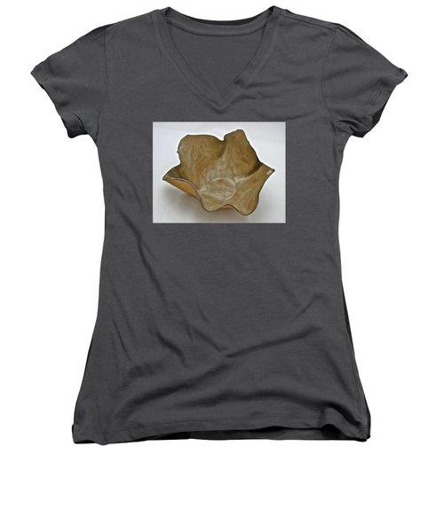 Paper-thin Bowl  09-010 Women's V-Neck T-Shirt (Junior Cut) by Mario Perron