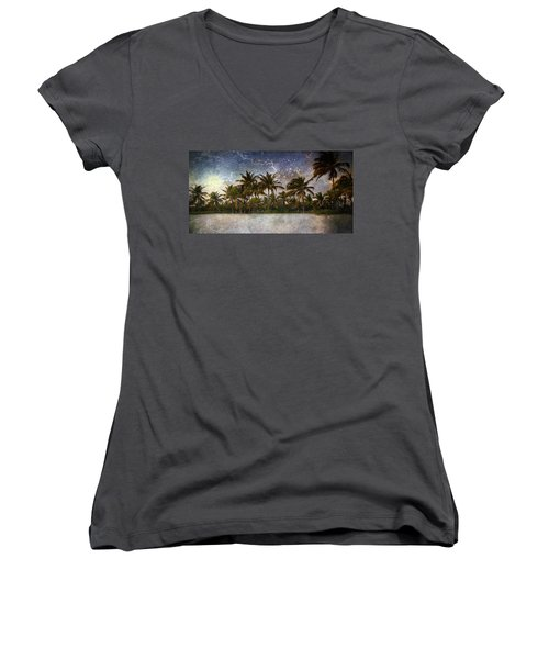 Paradise Found Women's V-Neck T-Shirt (Junior Cut) by Ellen Heaverlo