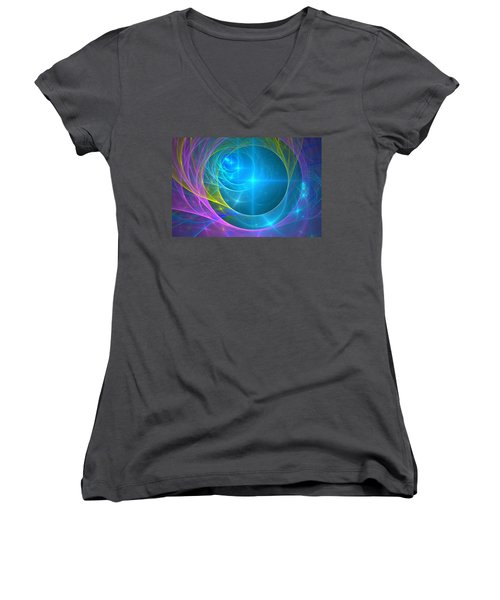 Women's V-Neck T-Shirt (Junior Cut) featuring the digital art Parallel Realities by Svetlana Nikolova