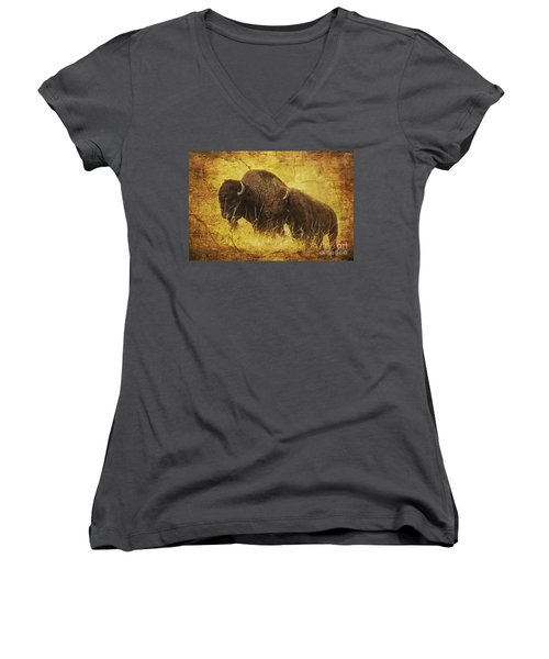 Women's V-Neck T-Shirt (Junior Cut) featuring the digital art Parent And Child - American Bison by Lianne Schneider