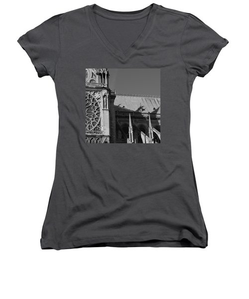Paris Ornate Building Women's V-Neck (Athletic Fit)
