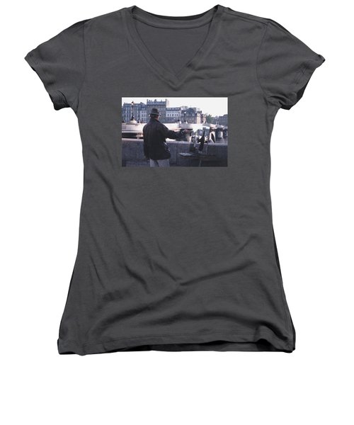 Women's V-Neck T-Shirt (Junior Cut) featuring the photograph Paris Painter Inspiration Magritte by Tom Wurl