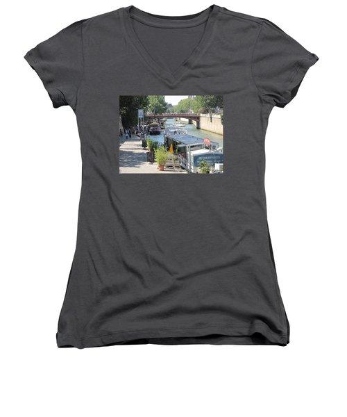 Paris - Seine Scene Women's V-Neck T-Shirt (Junior Cut) by HEVi FineArt