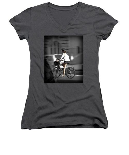 Parisian Girl Cyclist Women's V-Neck (Athletic Fit)