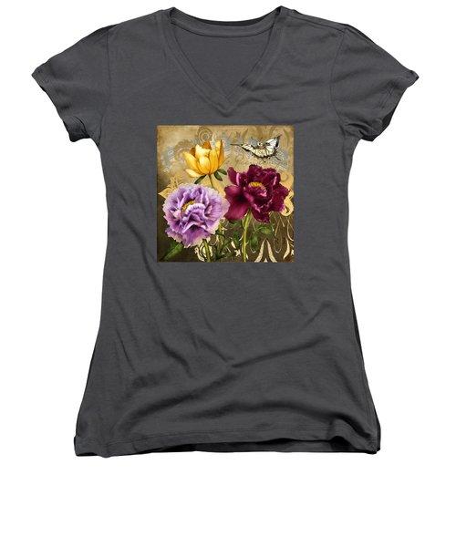 Parisian Peonies Women's V-Neck T-Shirt