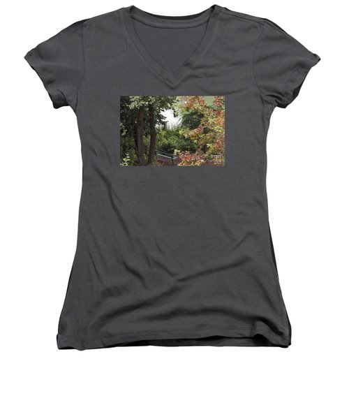 Women's V-Neck T-Shirt (Junior Cut) featuring the photograph Park Bench by Kate Brown