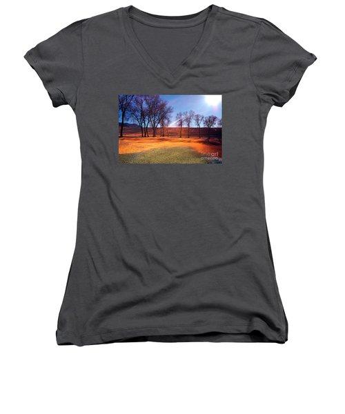 Park In Mcgill Near Ely Nv In The Evening Hours Women's V-Neck T-Shirt (Junior Cut) by Gunter Nezhoda