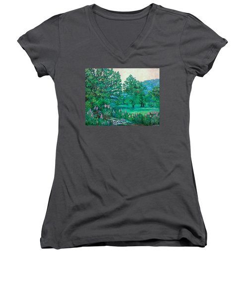 Women's V-Neck T-Shirt (Junior Cut) featuring the painting Park Road In Radford by Kendall Kessler