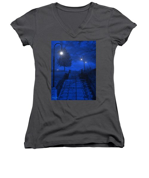 Women's V-Neck T-Shirt (Junior Cut) featuring the photograph Park Stairs by Michael Rucker