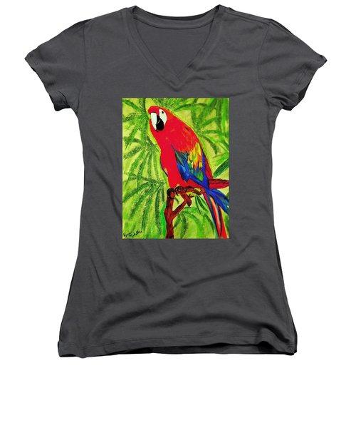 Parrot In Paradise Women's V-Neck T-Shirt (Junior Cut) by Renee Michelle Wenker