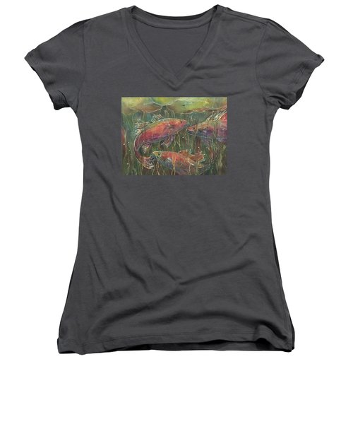Party Under The Lily Pads Women's V-Neck