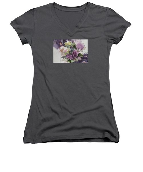 Women's V-Neck T-Shirt (Junior Cut) featuring the painting Passionate About Purple by Elizabeth Carr