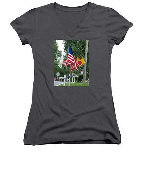 Past Heros Women's V-Neck T-Shirt (Junior Cut) by Marilyn Zalatan