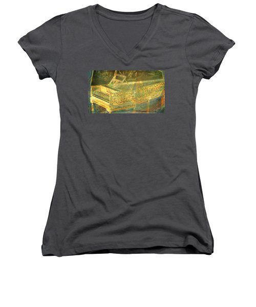 Women's V-Neck T-Shirt (Junior Cut) featuring the mixed media Past To Present by Ally  White